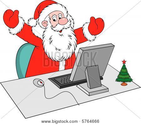 Papá Noel con la computadora