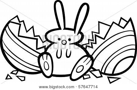 Easter Bunny Cartoon Coloring Page