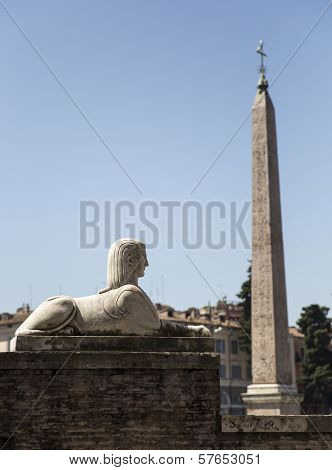 Sphinx and obelisk at Piazza del Popolo