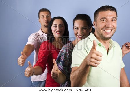 Happy Friends Give Thumbs Up  In A Line