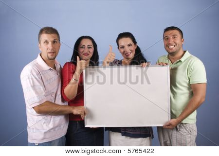 Happy People With Banner Give Thumbs Up
