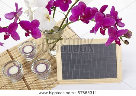 Bouquet Of Orchids With Slate
