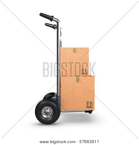 Hand Truck With Two Boxes Upright Profile