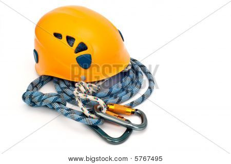 Climbing Equipment - Carabiners, Helmet And Blue Rope