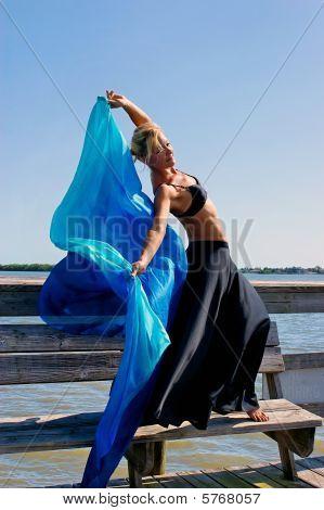 Beautiful Woman With Silk