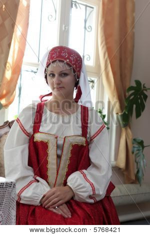 Girl In Old Russian Clothes