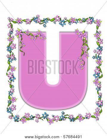 Alphabet Daisy Fair Pink U