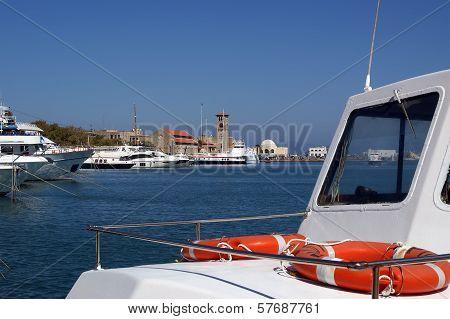 Rhodes Island Landmark, Mandraki Port, Greece.