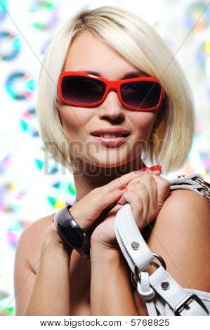 Pretty  Woman With Red Sunglasses