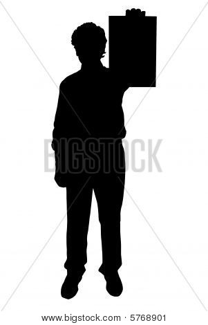 Man Holding Sign - Silhouette