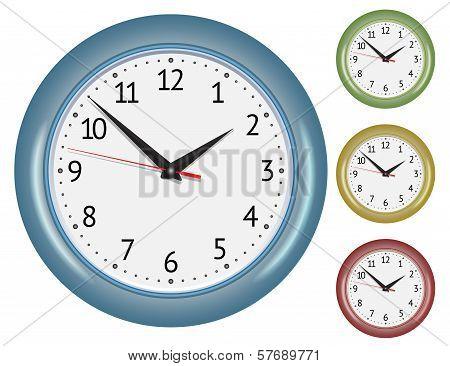 Set of wall mechanical clocks.