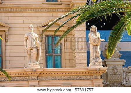 Statues On The Facade Of Paris Hotel In Las Vegas.