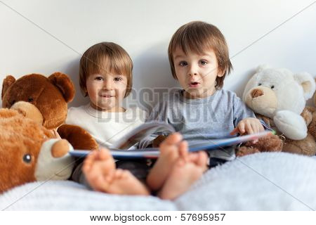 Boys, reading a book, teddy bears around