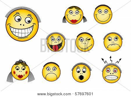 Set of smiley faces in various facial expressions