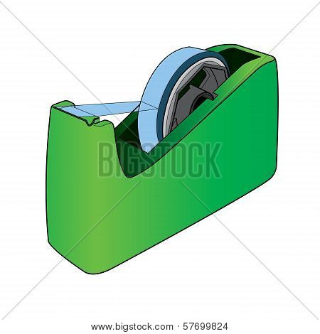 Tape Dispenser With Adhesive Tape Vector.eps