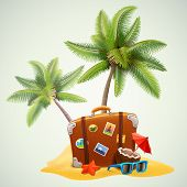 picture of starfish  - travel suitcase on beach with palms - JPG