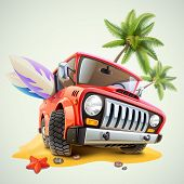 image of  jeep  - summer jeep car on beach with palm - JPG
