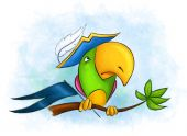 stock photo of megalomania  - naughty colorful parrot in a pirate hat sitting on a tree branch - JPG