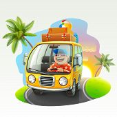 stock photo of car carrier  - summer vacation trip vector illustration - JPG