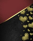 image of nameplates  - Golden hearts on a black background - JPG