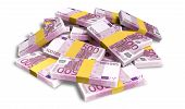picture of bundle money  - A pile of randomly scattered wads of european euro banknotes on an isolated background - JPG