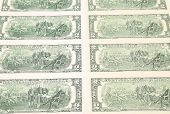 stock photo of two dollar bill  - Two dollar bills close up - JPG