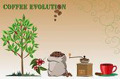 stock photo of coffee coffee plant  - Colour illustration of isolated coffee related objects - JPG
