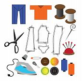 stock photo of sweatshop  - Many tailoring icons over white back ground - JPG