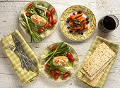 Traditional Jewish Passover Dishes Of Gefilte Fish And Tsimmes