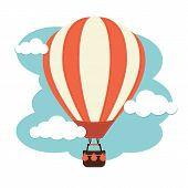 foto of air transport  - A hot air balloon flying against a cloudy sky - JPG