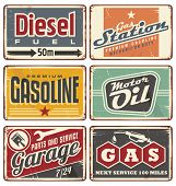 stock photo of fuel pump  - Gas stations and car service vintage tin signs collection - JPG