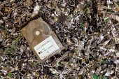 foto of landfill  - A hard drive resting on a pile of shredded hard drives - JPG