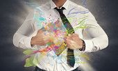 stock photo of superman  - Concept of Creative business with colorful effect - JPG