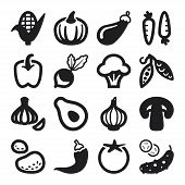 image of legume  - Set of black flat icons about vegetables - JPG
