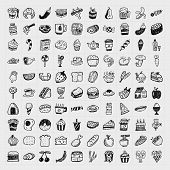 stock photo of meat icon  - doodle food icons set  - JPG