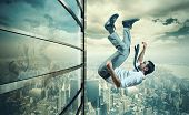 stock photo of suicide  - Concept of failure of a businessman due to crisis - JPG