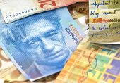 foto of twenty dollars  - Swiss francs. Currency of Switzerland close up