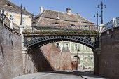 stock photo of sibiu  - Iron bridge in the old part of Sibiu Romania - JPG