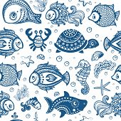 image of shell-fishes  - Vector set of fish and shells for your business - JPG