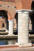 stock photo of arsenal  - View of Arsenale columns in Venice Italy - JPG
