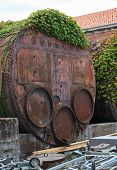 stock photo of arsenal  - Industrial iron barrel container Arsenale in Venice - JPG