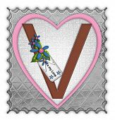 pic of v-day  - The letter V in the alphabet set  - JPG