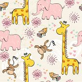 stock photo of baby-monkey  - babies hand draw seamless pattern with animals - JPG