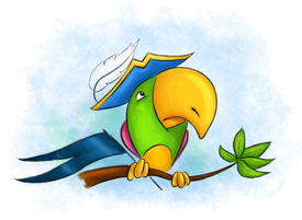 picture of megalomania  - naughty colorful parrot in a pirate hat sitting on a tree branch - JPG