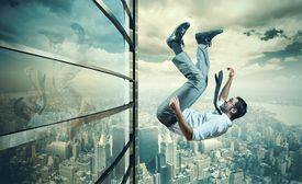 stock photo of fail job  - Concept of failure of a businessman due to crisis - JPG