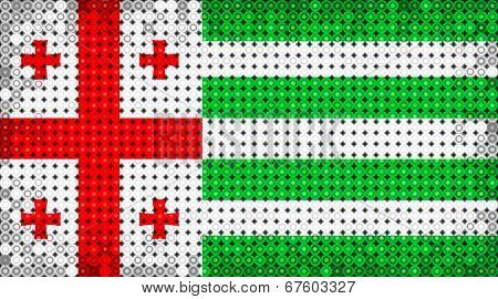 Flag Of Abkhazia Lighting On Led Display