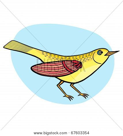 Illustration Of Cartoon Beautiful Yellow Bird