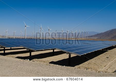 Wind and solar power plant in Southern California