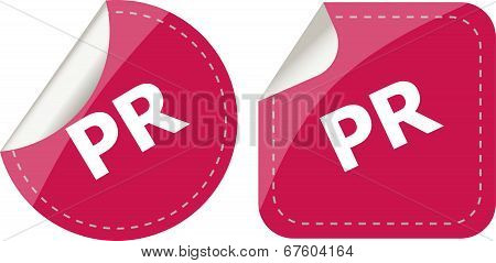 Pr Word On Stickers Set, Icon Button