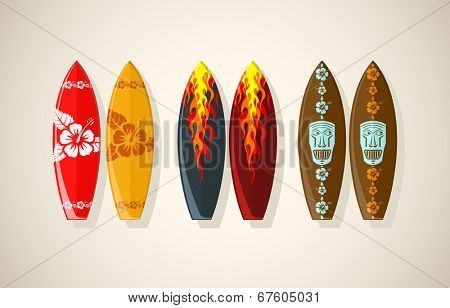 Vector illustration of surf boards in vintage colors